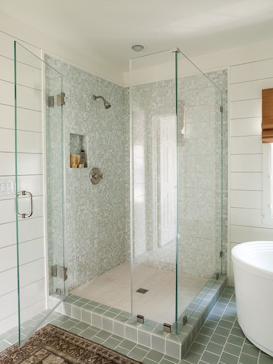 Pale Green Subway Tiles For Back Wall With Freestanding