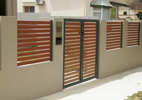 Model Pagar Kayu Minimalis Horizontal Dengan Rangka Beton | Pagar Kayu,  Desain Produk, Rumah
