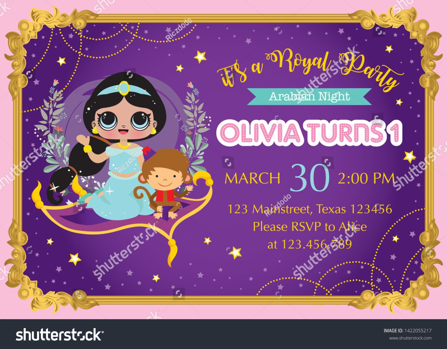 First Birthday Invitation Card Template With Cute Princess
