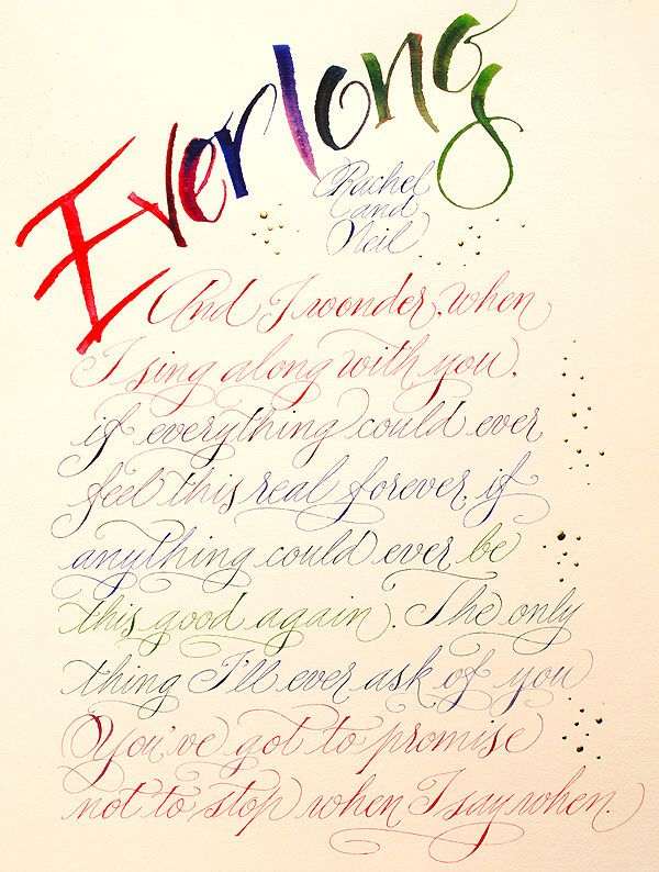 Everlong By The Foo Fighters 50 Calligraphy To Order In The Uk