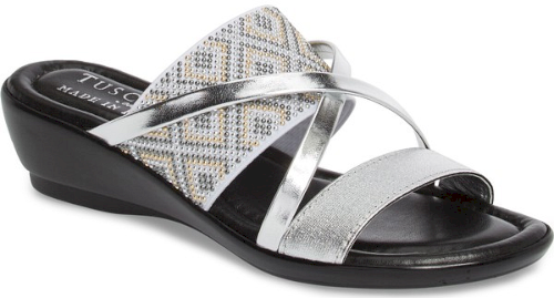 715455113 Tuscany By Easy Street Palazzo Sandal in Metallic. Tiny studs ...
