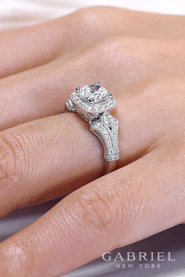 Gabriel - Vintage 14k White Gold Round Halo Engagement ring. In this ...