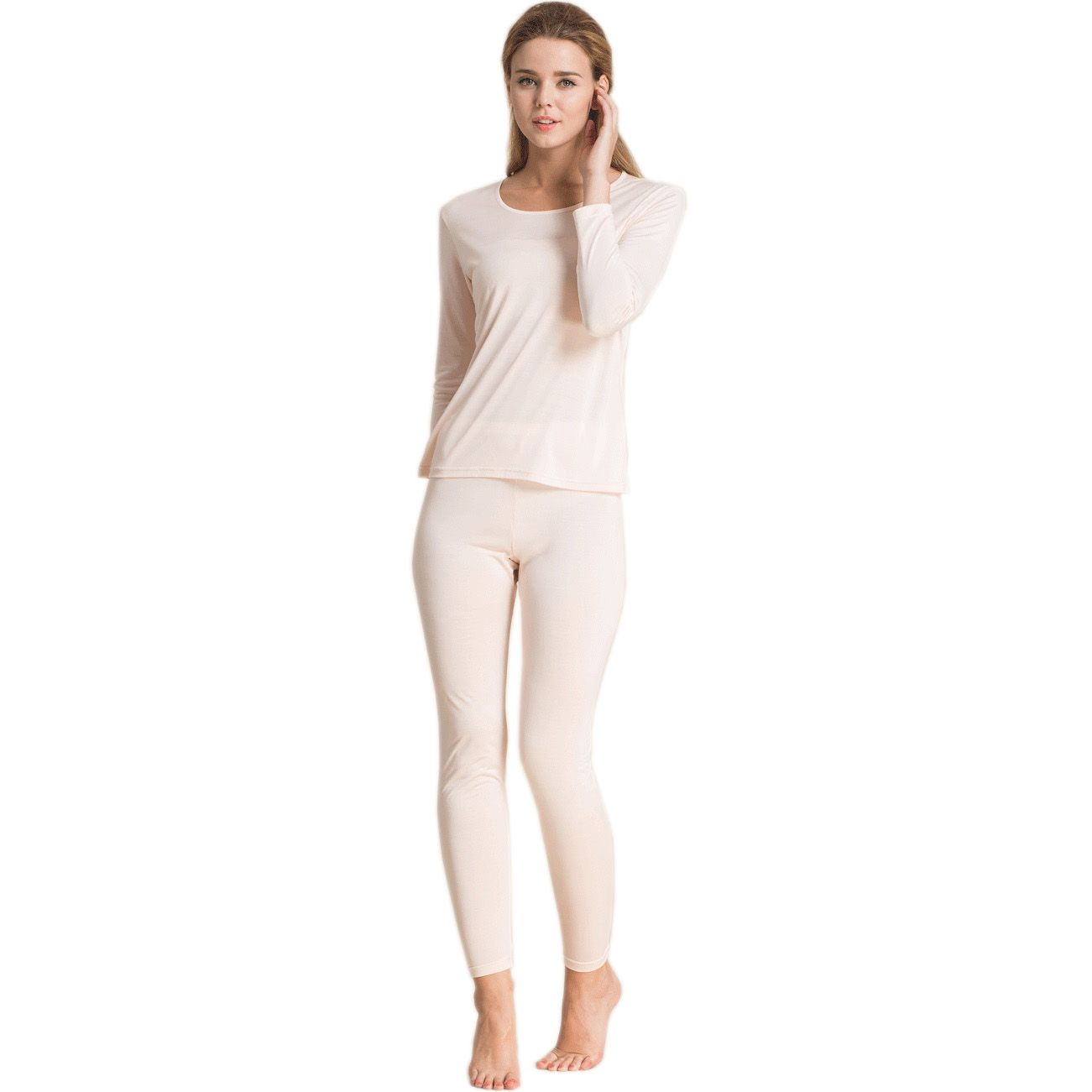 100% Pure Silk Women's Long Johns Set Ladies Warm Clothing Femme ...