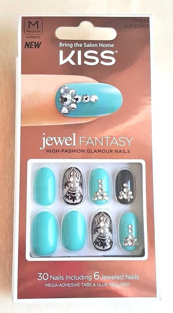 Kiss JEWEL Fantasy BARONESS 30 Nails + 6 Jeweled Nails #71519 ...