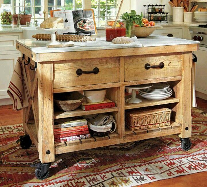 Island Kitchens In 2019 Rustic Kitchen Island Pottery