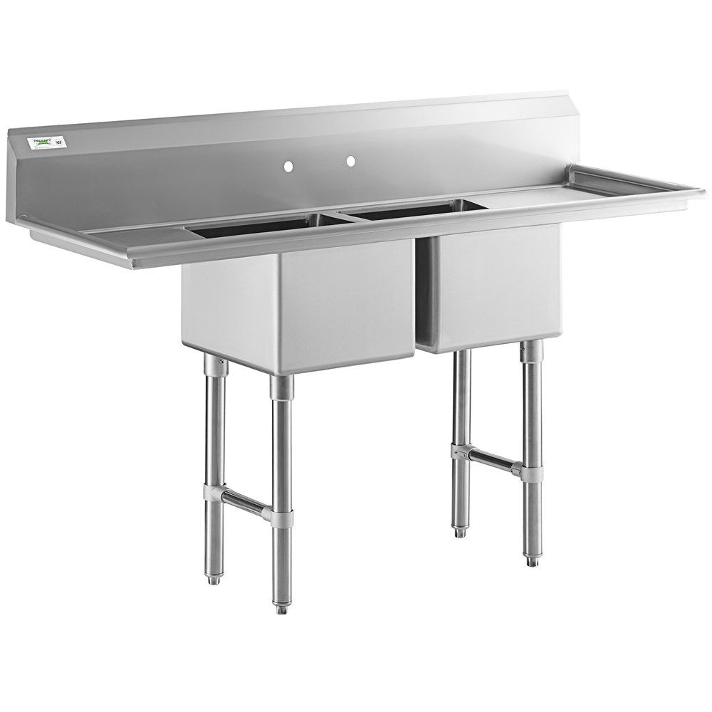 Regency 72 16 Gauge Stainless Steel Two Compartment Commercial Sink With Stainless Steel Legs Cross Bracing And 2 Drainboards 17 X 17 X 12 Bowls In 2020 Commercial Sink Sink Stainless Steel Legs