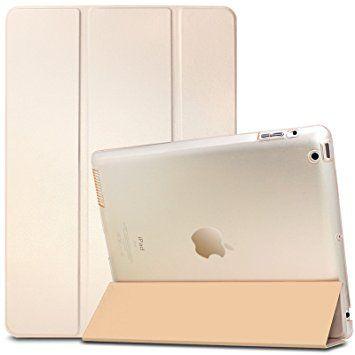 iPad 2 3 4 Funda Case-Infiland Ultra Delgada Tri-Fold Smart Case Cover PU Cuero Smart Cascara con Soporte para Apple iPad 2,iPad 3, iPad 4(con Auto Reposo / Activación Función)(Transparente Dorado): Amazon.es: Bebé