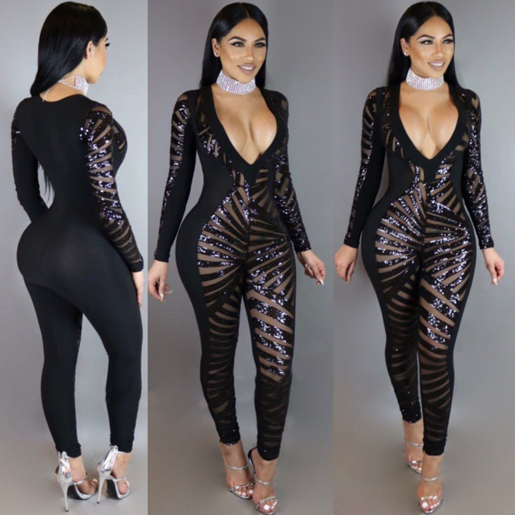 Fashion Black Deep V Neck Sequins Bandage Bodycon Jumpsuit Catsuit  Playsuits 298 in Clothing c625f49b4b14
