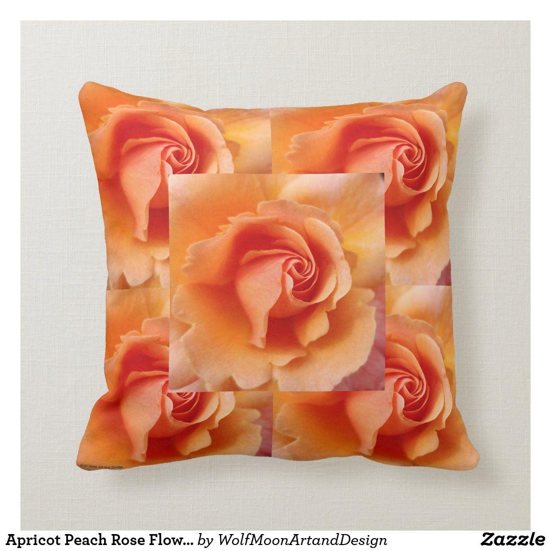 Apricot Peach Rose Flower Close Up Photo Tiled Throw Pillow In 2020 Throw Pillows Pillows Decorative Throw Pillows