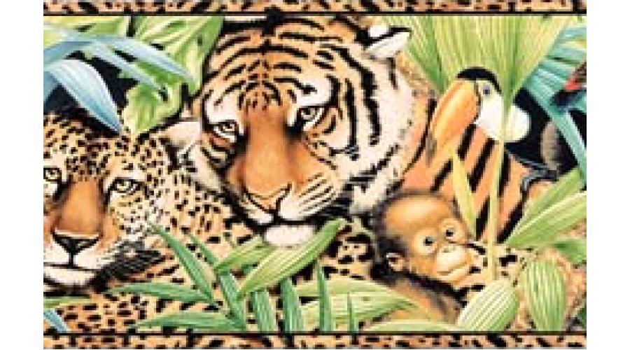 15 ft Prepasted Wallpaper Borders Tan Black Animal Print