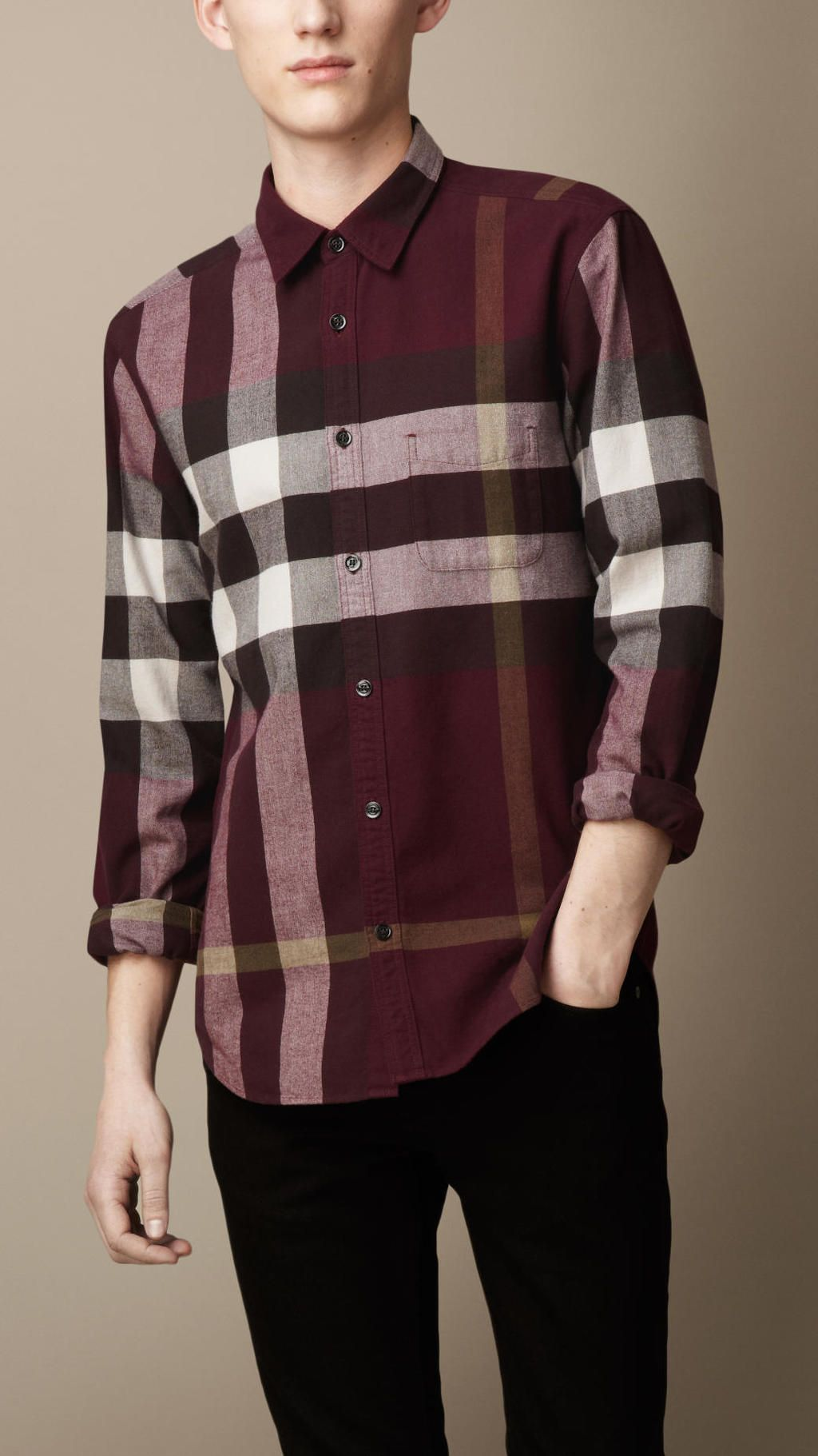 Flannel shirt men outfit  Burberry  Purple Exploded Check Flannel Shirt  Men Fashion