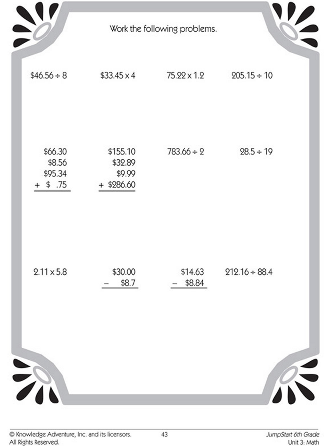 Solve These Decimal Math Problems With Addition Subtraction Multiplication Or Division Math Worksheets Free Math Worksheets Grammar Worksheets
