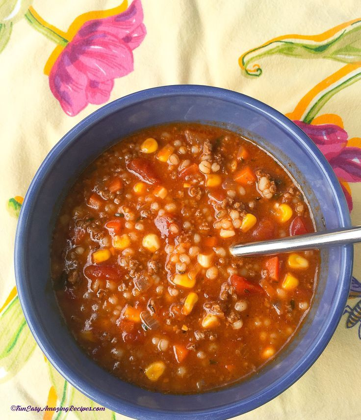 Hearty Hamburger Soup - Filling hamburger soup is a cheap, easy way to have soup as a main dish