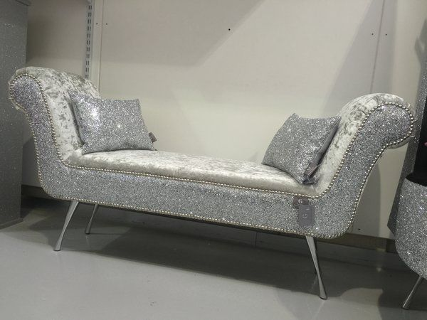 Stunning Double Ended Chaise/ Bedroom Seat Silver Glitter   Silver Velvet