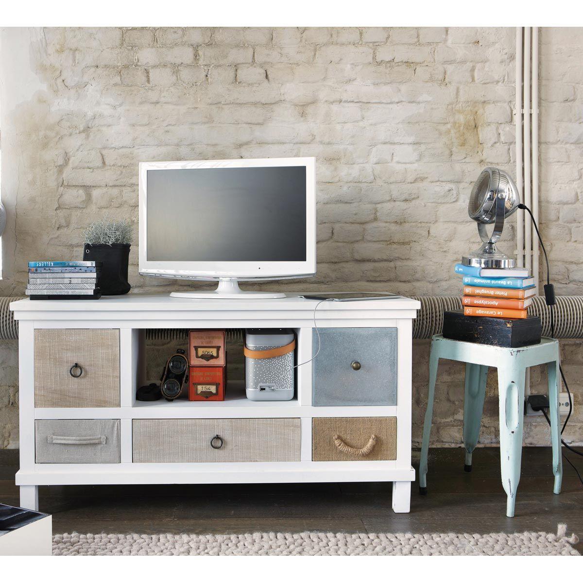 Meuble Tv En Bois Blanc L 110 Cm Meuble Tv Blanc Meuble Tv Et  # Meuble Tv Paulownia Blanc