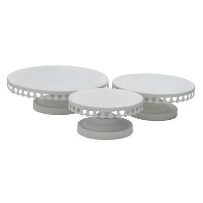 Woodland Imports 3 Piece Cake Stand Set Color: White