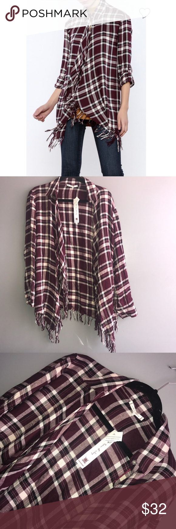 WILLOW & CLAY plaid fringe shirt Super Cute! Offers Accepted! Willow & Clay Tops