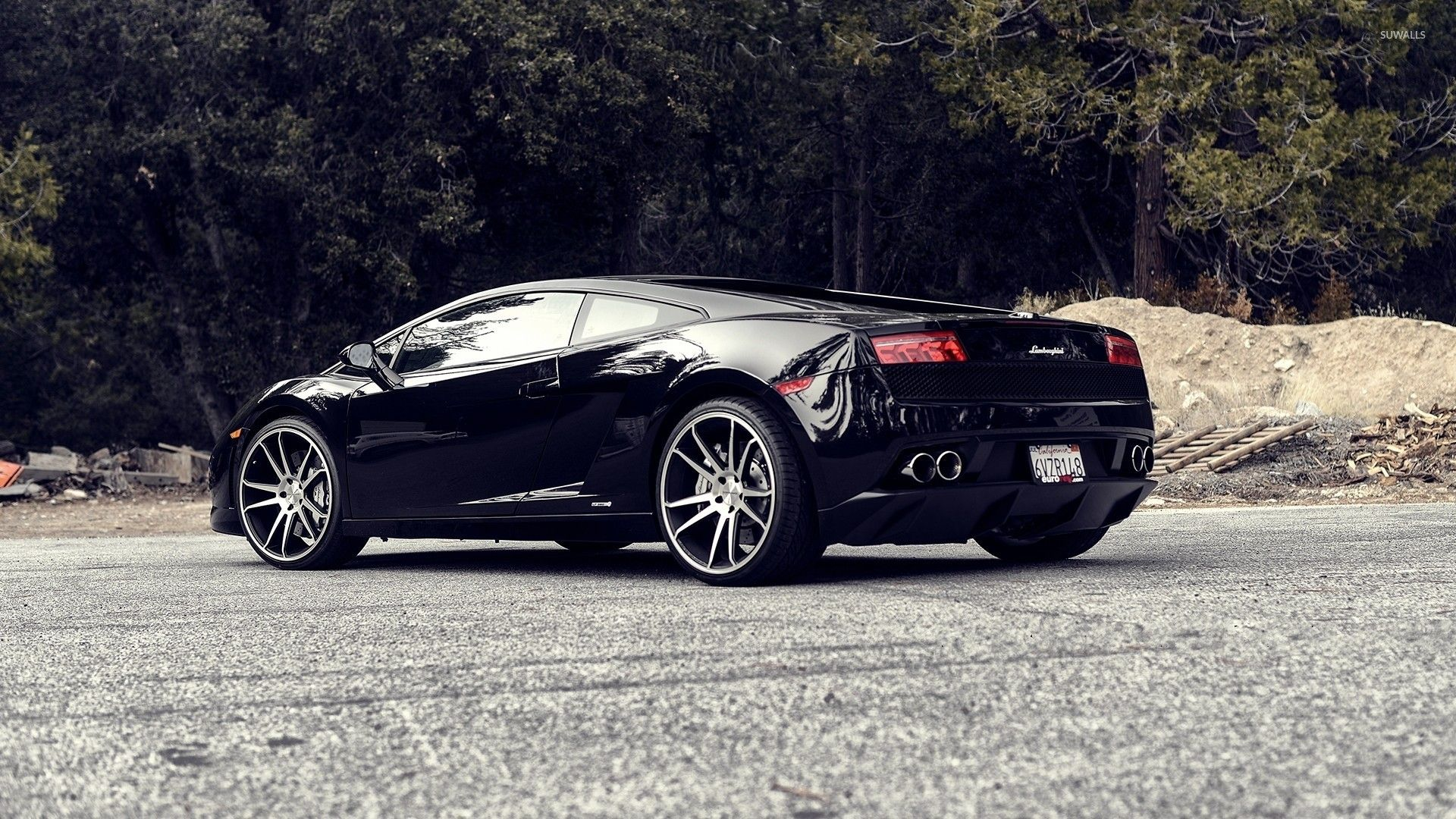 Back Side View Of A Black Lamborghini Gallardo Wallpaper Car