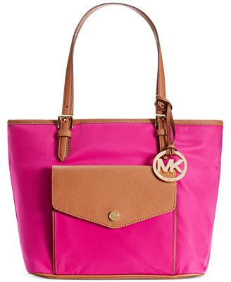 b152c1e7fe32 MICHAEL Michael Kors Jet Set Nylon Medium Pocket Multifunction Tote Color   Dusk Gold