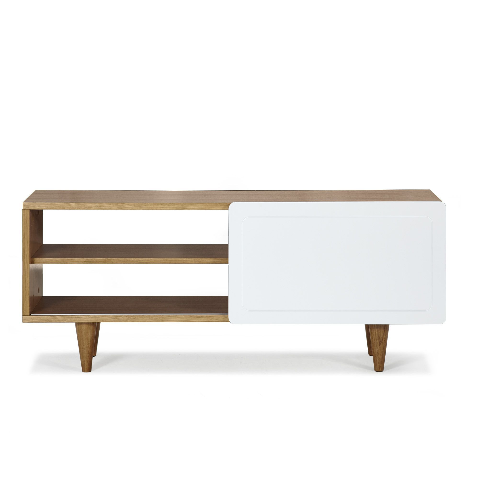Meuble tv 1 porte coulissante plaqu ch ne laqu blanc for Glissiere porte coulissante meuble