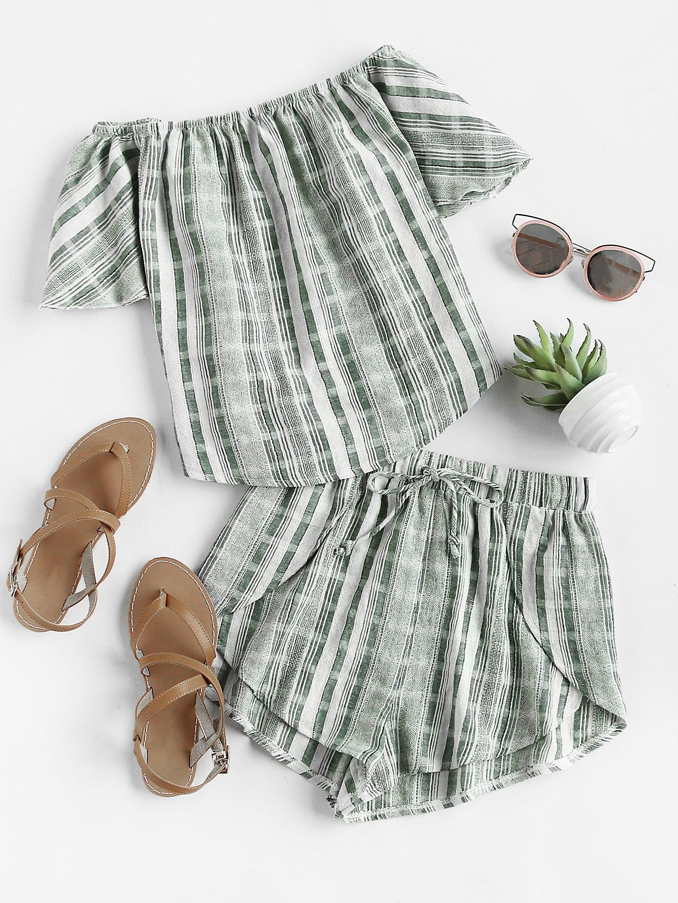 7d850d630 Linen Look Bardot Top And Drawstring Overlap Shorts Set