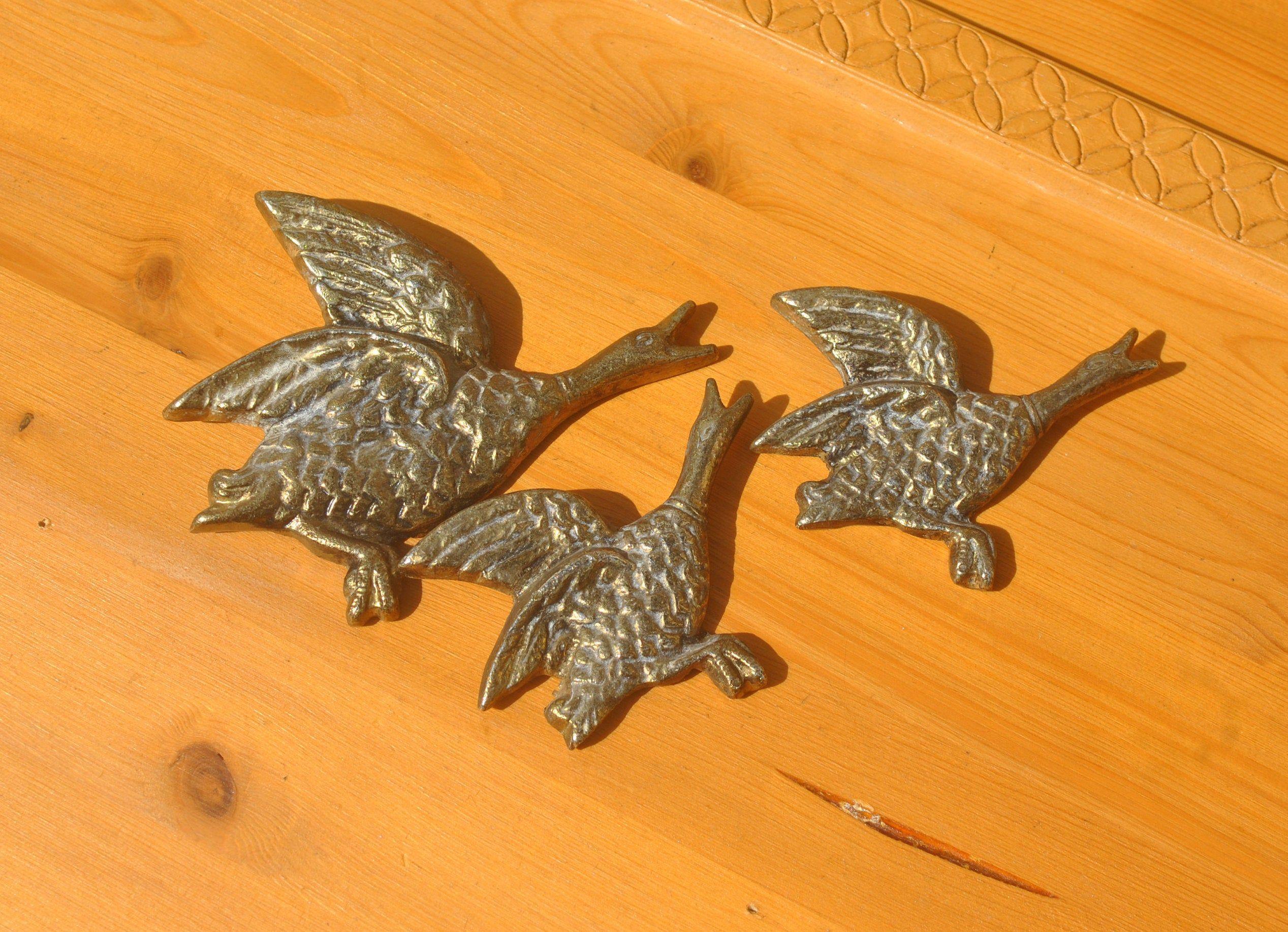 1970s Brass Flying Ducks. Set of 3 Wall Hanging Duck ...