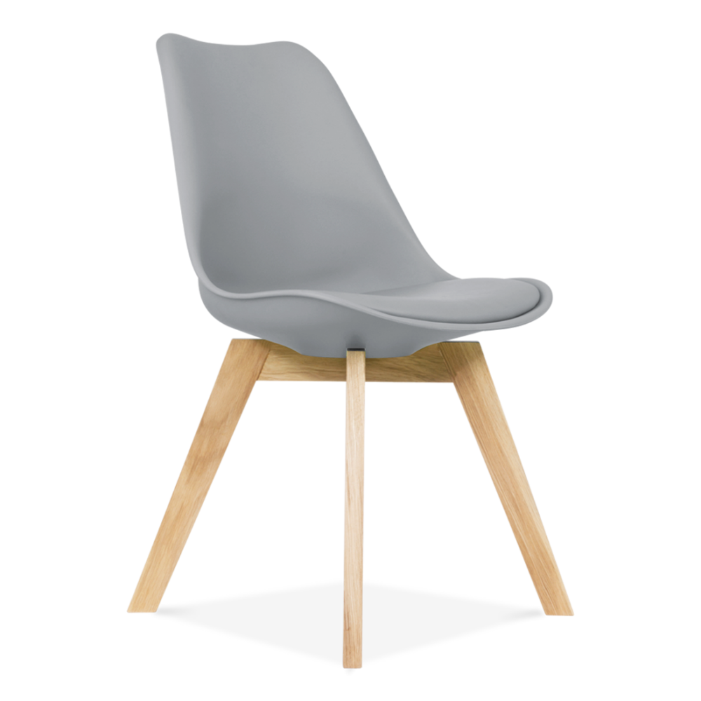 Amazing Cool Grey Dining Chair With Solid Oak Crossed Wood Legs
