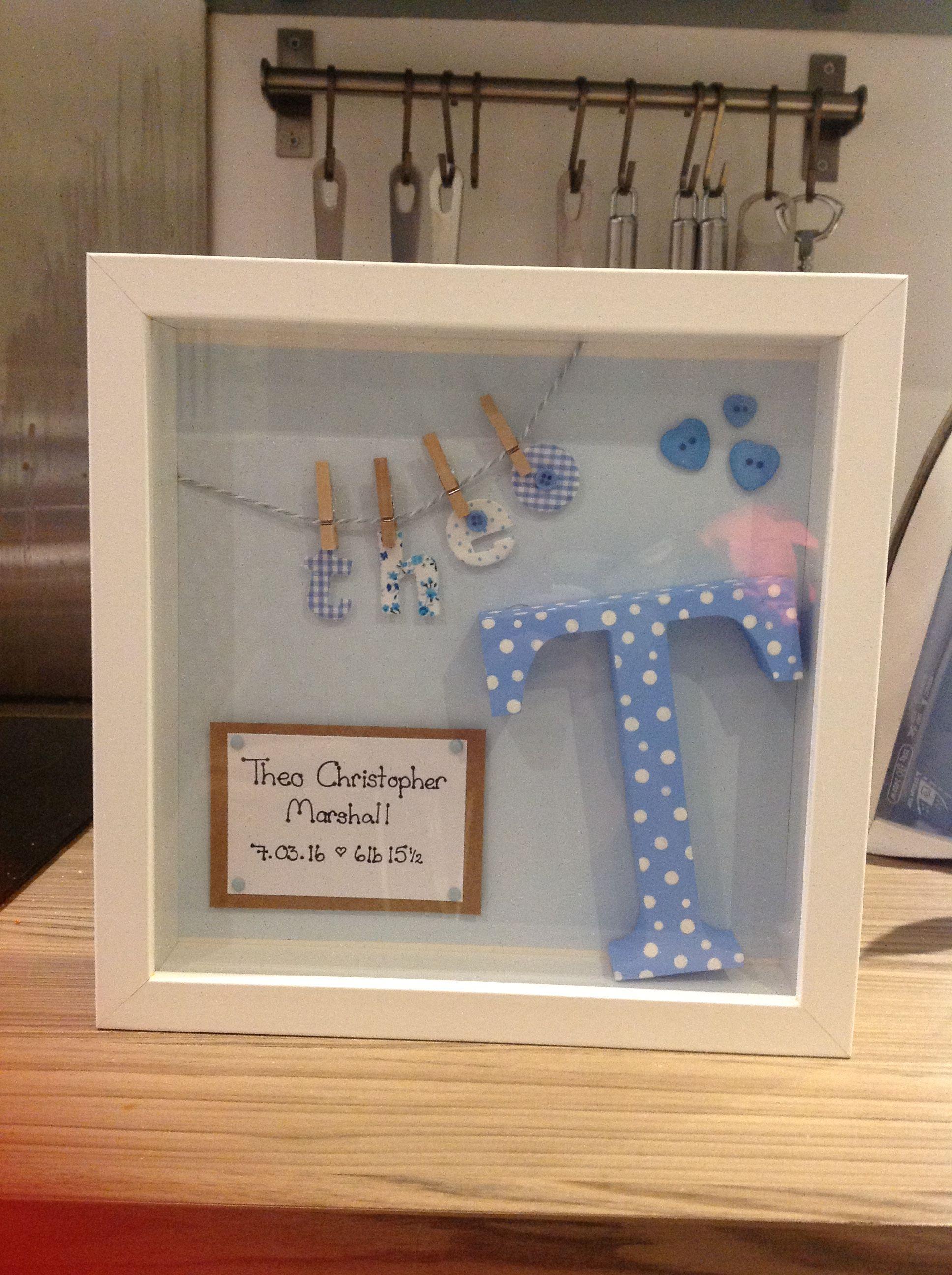 Handmade new baby boy box frame | Baby Shadow Box | Pinterest | Box ...