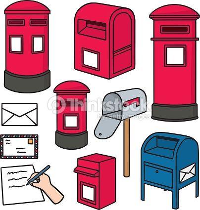 Vector Set Of Postbox Post Box Drawing Post Box Vector Post Box