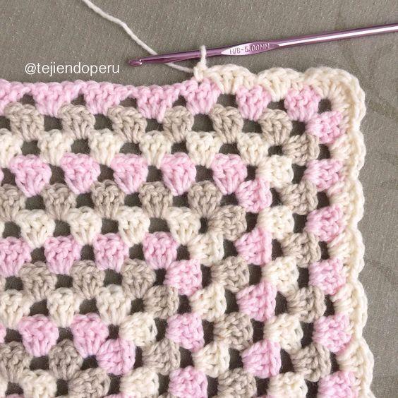 Un borde muy sencillo para colchas tejidas a #crochet en granny ...
