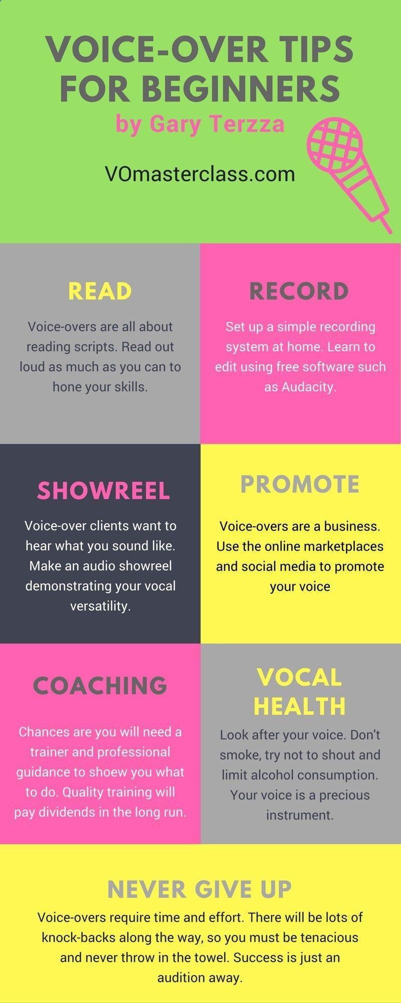 VoiceOver tips for beginners infographic. Acting