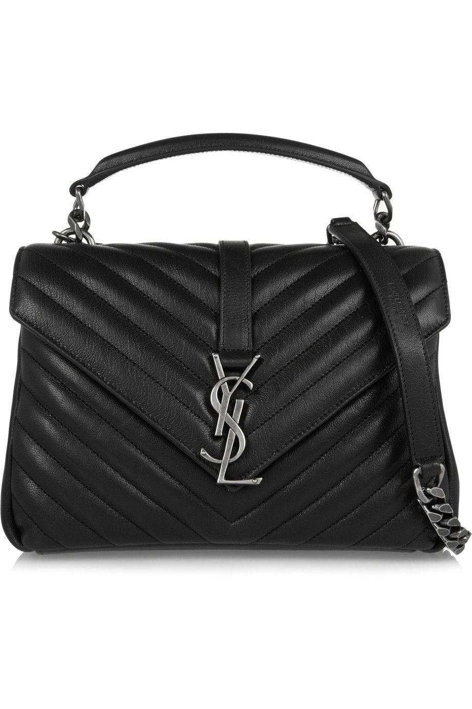 saintlaurent, CLASSIC Medium COLLèGE MONOGRAM SAINT LAURENT BAG IN Black  MATELASSÉ LEATHER USD 2450 at YSL   Perfect Hand Bags   Pinterest   Bags,  ... f95cff3ed4a