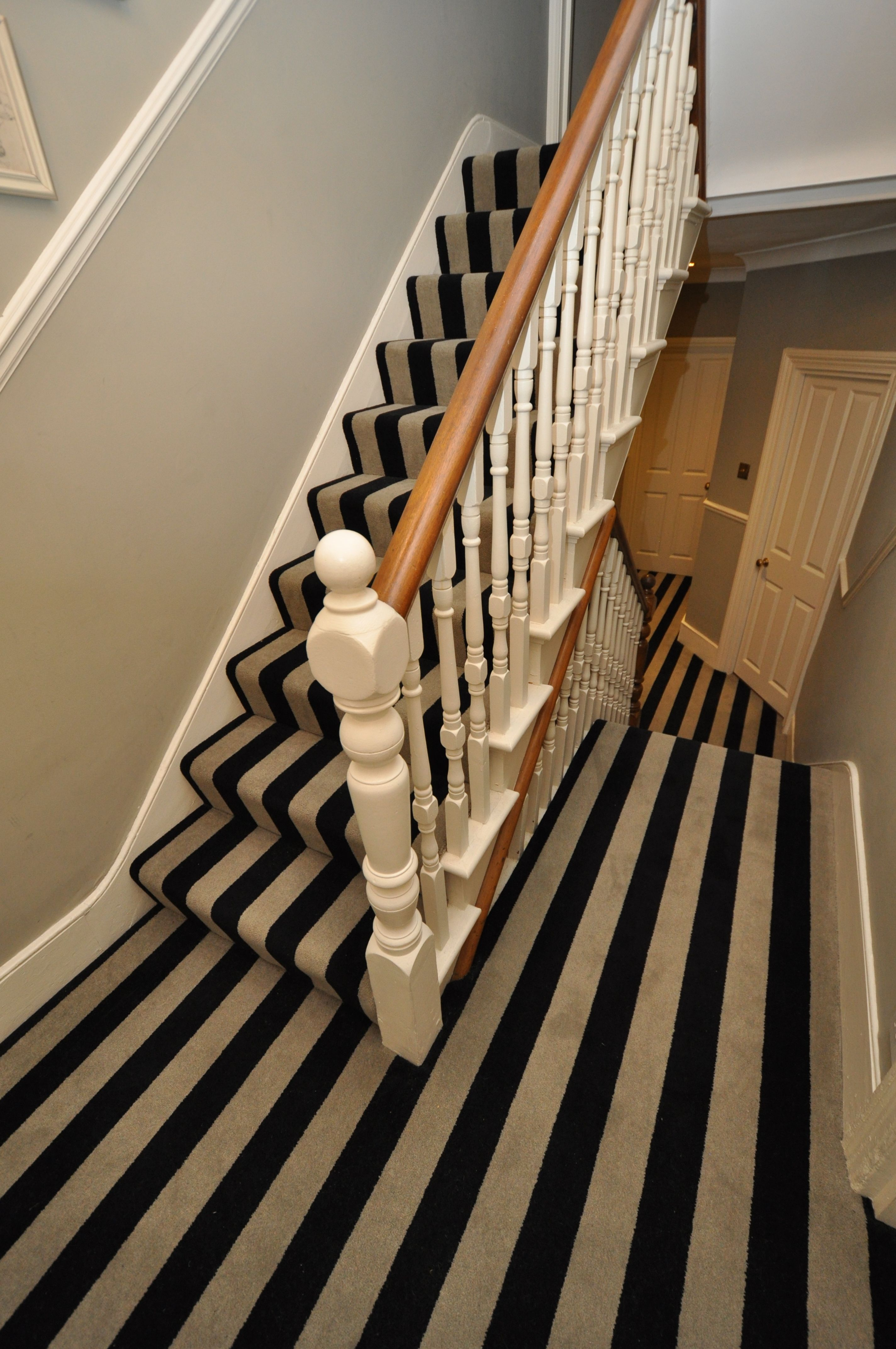 5 003 Bespoke Carpet Bespoke Striped Carpet Stair Runners With Fully Fitted Landings Fitted In London Carpet Stairs Stair Runner Carpet Stairs
