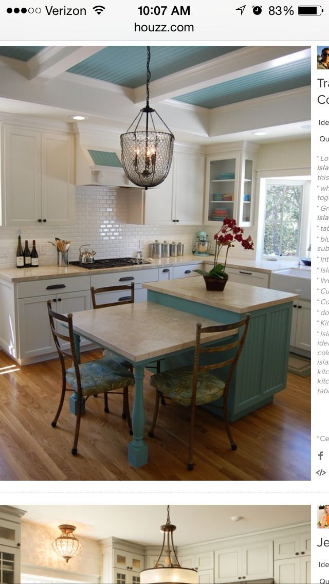 Drop Down Island For Eating Space I Also Like The Backsplash And Lighting Dining Room Combo Kitchen Design Kitchen Dining Room