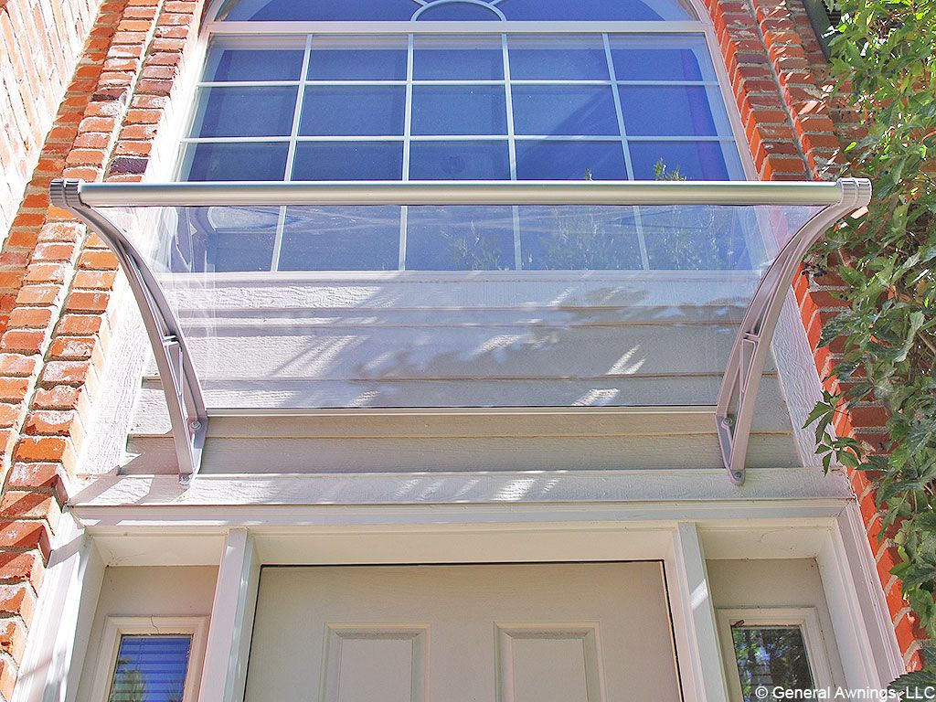 PC1500 Series Door Canopy With Rain Channel - Clear Sheet Gray Brackets & PC1500 Series Door Canopy With Rain Channel - Clear Sheet Gray ...