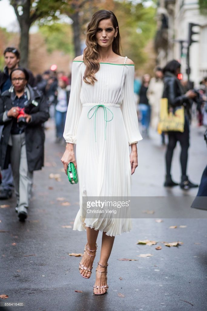 cba430c3542 Izabel Goulart wearing a white dress seen outside Valentino during Paris  Fashion Week Spring Summer 2018 on October 1