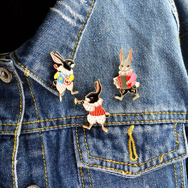 Jewelry & Accessories Jewelry Sets & More 2019 Fashion 2 Pcs Fashion Brooch Enamel Metal Pins Cartoon Animal Rabbit Cat Brooches For Women Badge Denim Jackets Bag Pin Button Jewelry
