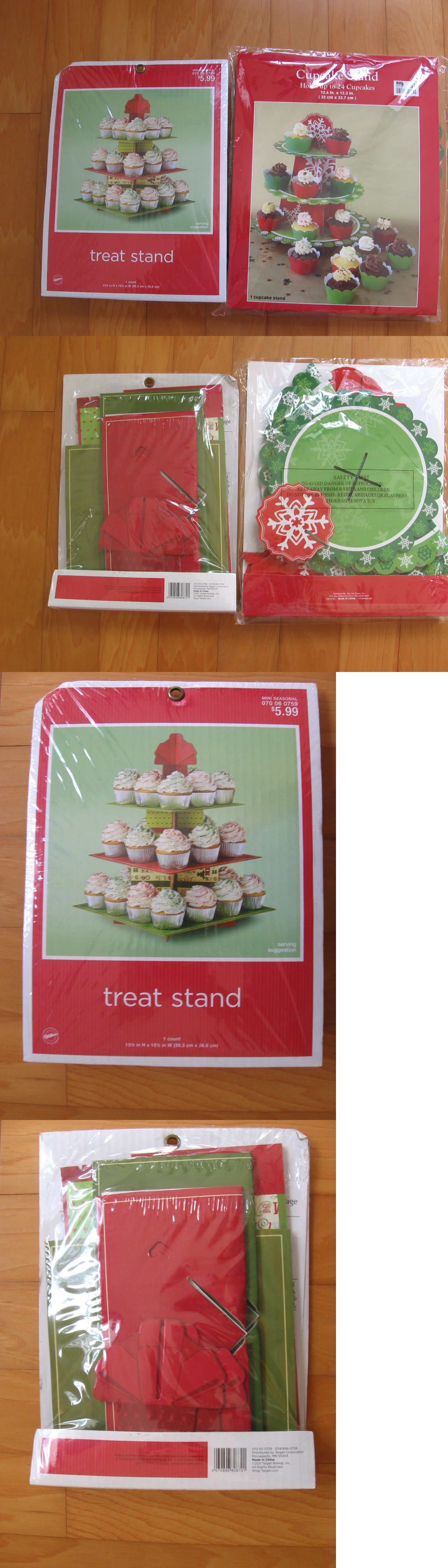 Cake Stands 183356 Wilton Christmas Holiday 3 Tier 24 Cupcake Treat Cake Stand Cardboard Lot Of 2 Buy It No Cardboard Cake Stand Christmas Holidays Holiday
