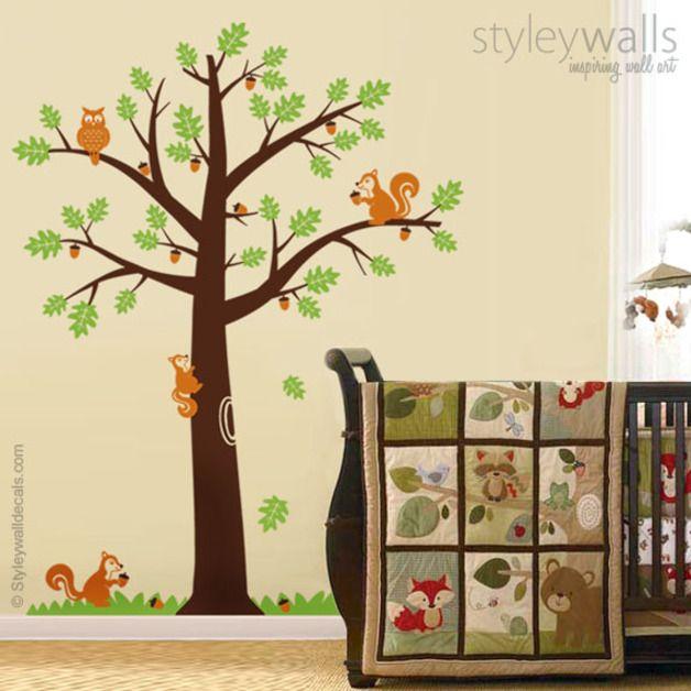 Wandtattoos waldtiere eichh rnchen eiche wandaufkleber ein designerst ck von smileywalls bei - Wandtattoo kinderzimmer waldtiere ...