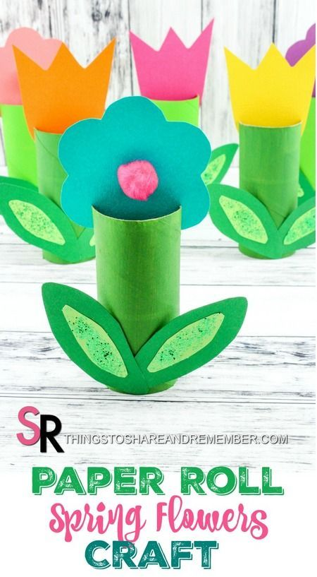 Paper Roll Spring Flowers Craft Spring Flower Crafts Paper Roll Crafts Preschool Crafts