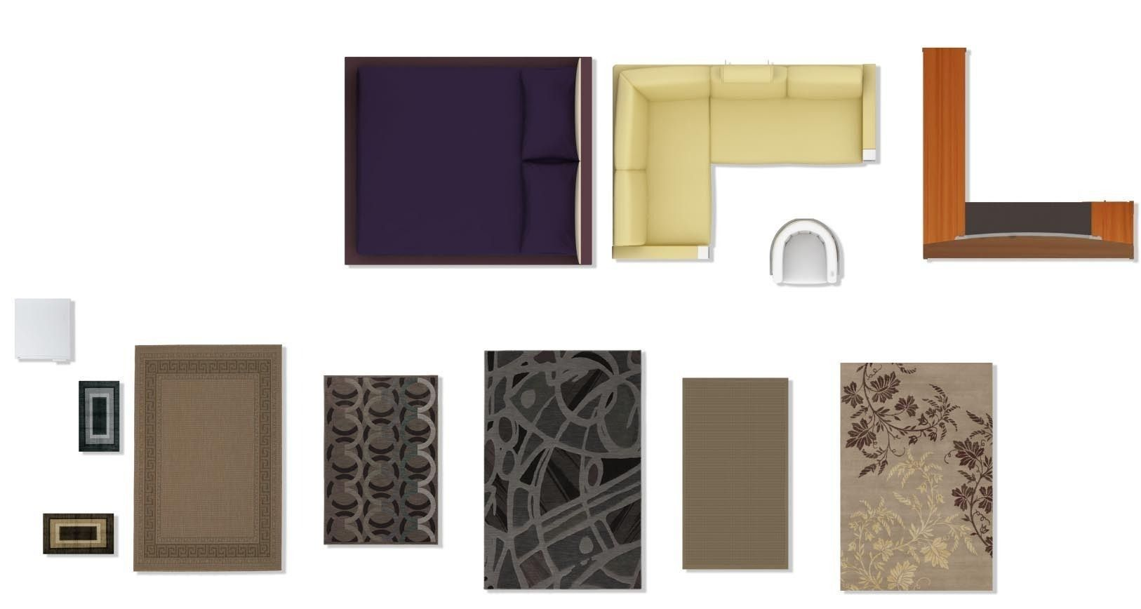 Psd 2d floorplan furniture 3d model 2d furniture and for Muebles de oficina 3d model