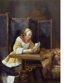 A Lady reading a Letter by Gerard Terborch, 1665 - Wallace Collection Online - Wallace Gallery London