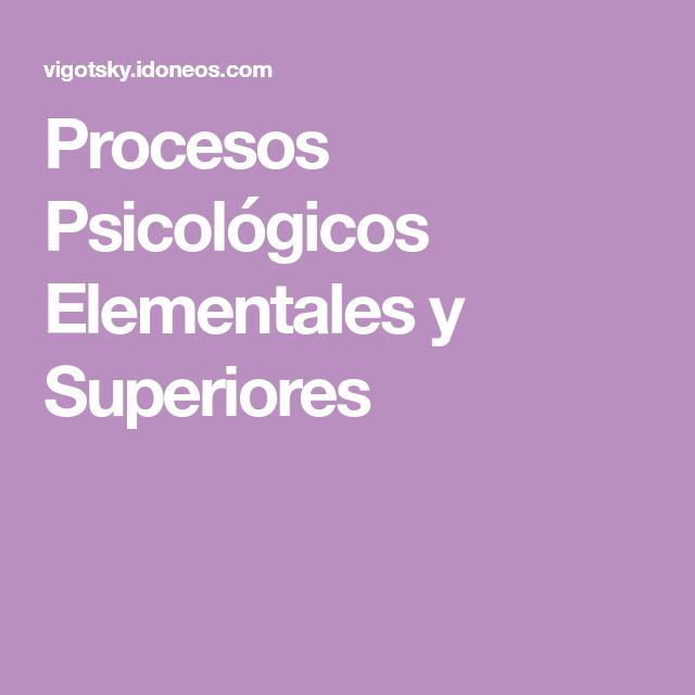 Procesos Psicológicos Elementales Y Superiores Psicologa Proceso Psicologia