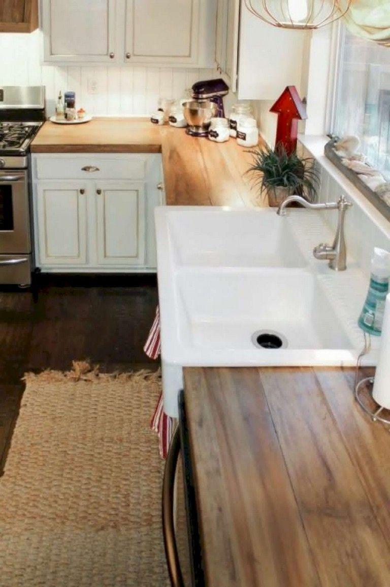 53 Amazing Farmhouse Kitchen Ideas Farmhouse Kitchens Kitchenideas Farmhouse Kitchen Countertops Kitchen Design Countertops Wood Kitchen Counters