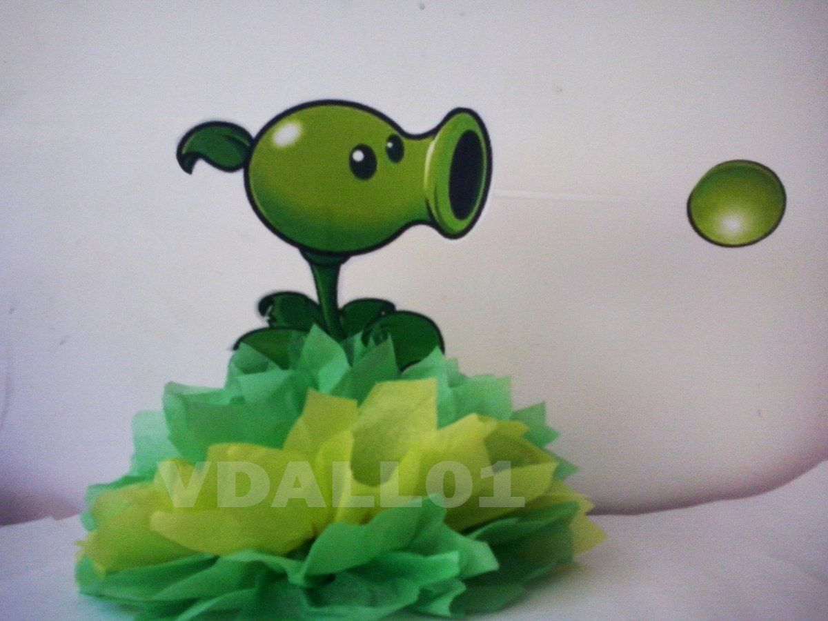 Centros de mesa de plants vs zombies buscar con google for Decoracion con globos plantas contra zombies