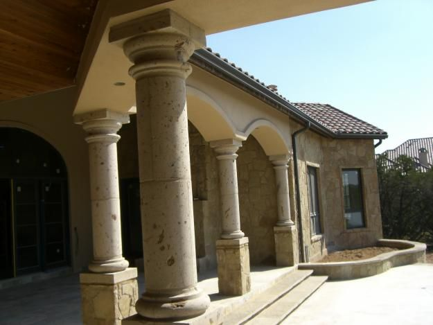 Painted Stone Pillars : Natural cantera stone column home exterior paint