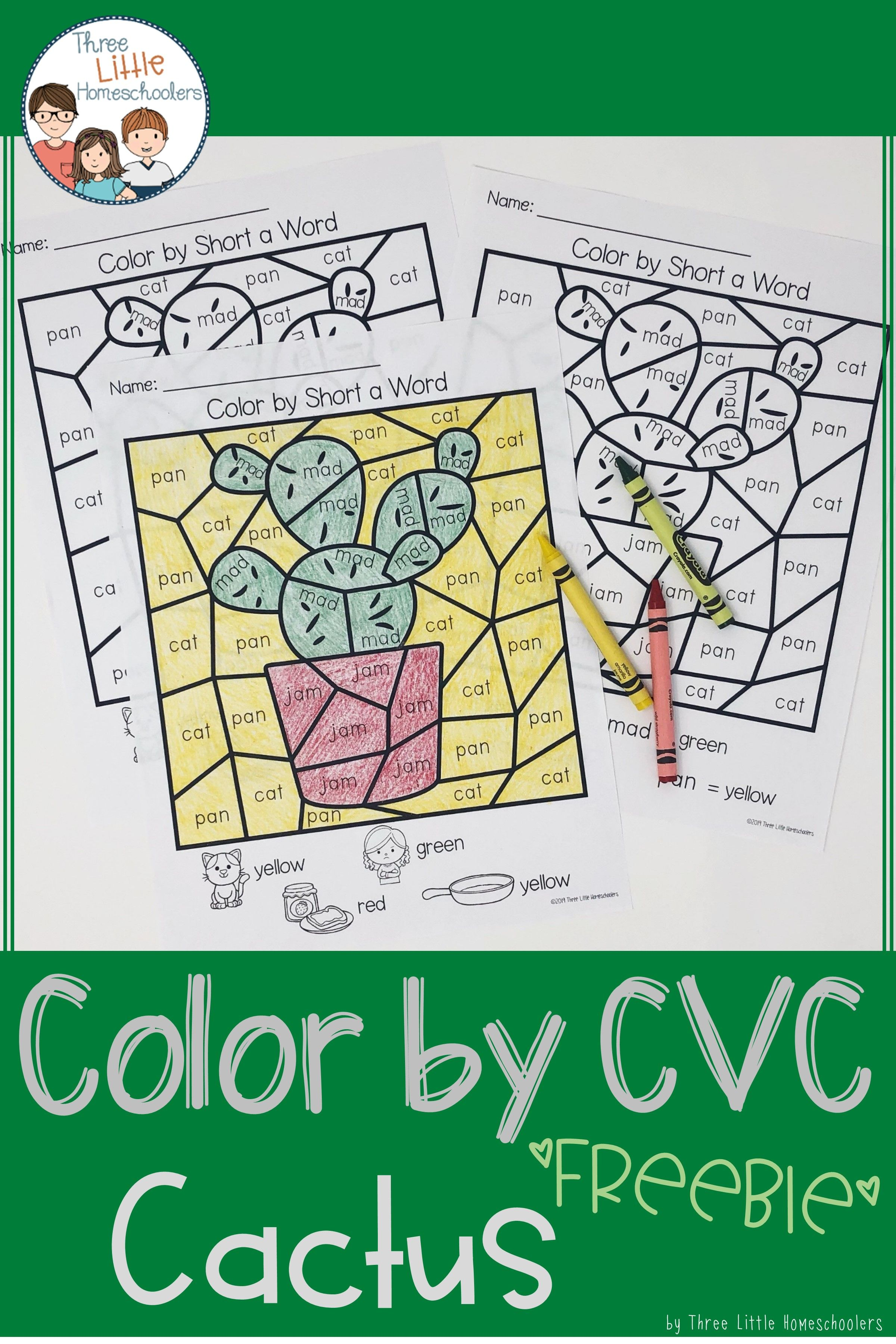 Cactus Color by CVC Word FREEBIE - Distance Learning (With ...