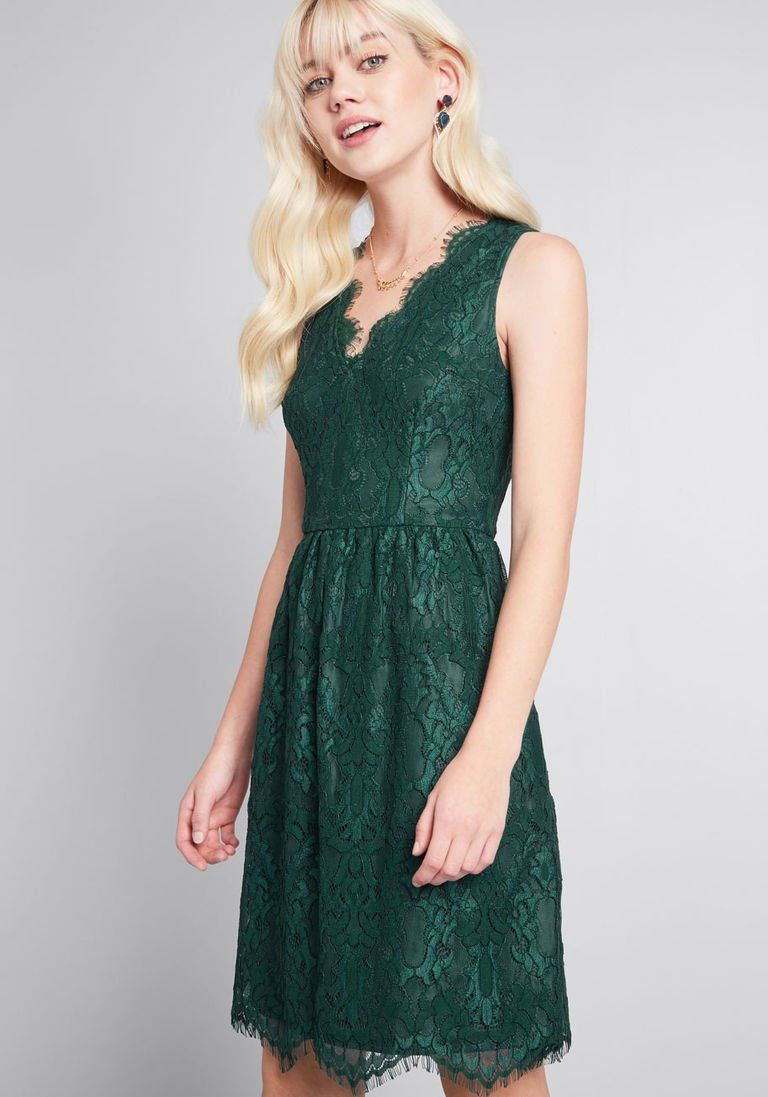 402072dce9e V-Neck Lace Fit and Flare Dress in Pine in 3X - Sleeveless Fit   Flare Knee  Length