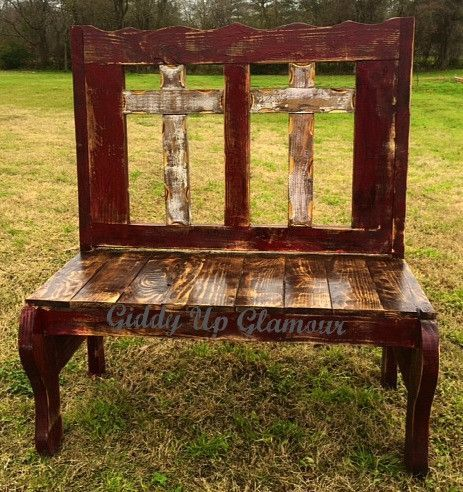 Handmade Rustic Two Cross Bench In Maroon And White Rustic Furniture Furniture Rustic Bench
