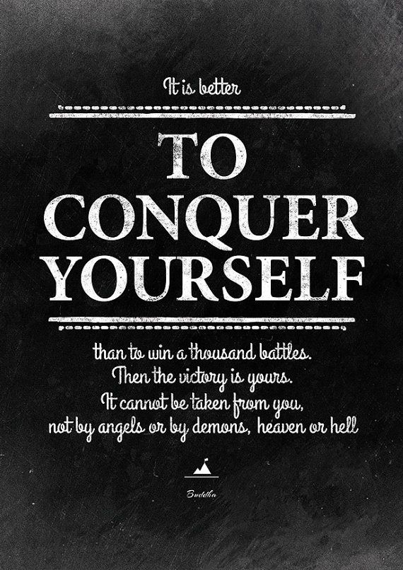 Buddha quote on winning by conquering yourself. Inspirational wall art. Decoration for your interior. #InstantQuotes